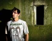 Mens Baphomet head handpainted t-shirt occult post-apocalypse wear large
