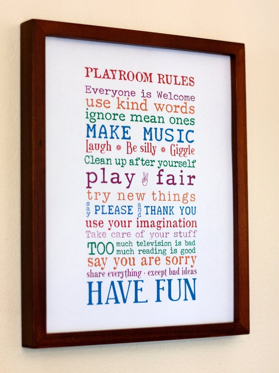 Print Your Own - 11x14 - Playroom Rules Sign
