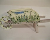 Folk Art Spring Garden Wheel Barrow Floral Decor Wooden Display to Enjoy or fill with Gift Items of  Sweets Flowers Herbs Jewels Books Wine