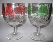 Cold BEER La Summertime Drink Mug State Fair Advertisement Souvenir Goblet Glasses Red and Green 1970s Ready for A Good Cold Beer and Fun