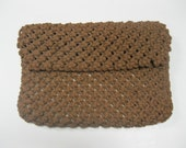 Chocolate Brown Macrame Vintage to Modern Ladies Clutch Style Purse Matching Colorful Lined Handcrafted Purse