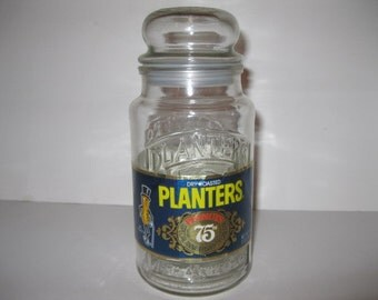 Original Planters Mr Peanut 75th Special Anniversary Decantor Collectible Apothecary Jar 1906 - 1981 with Paper Label Vintage Advertisement