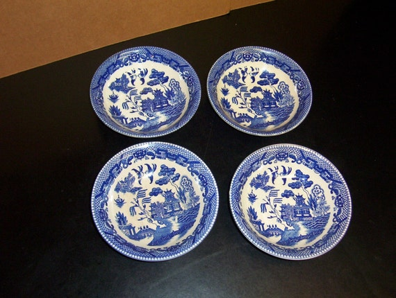 Vintage Japan Blue Willow Set of Four Small Bowl Saucers Marked Japan