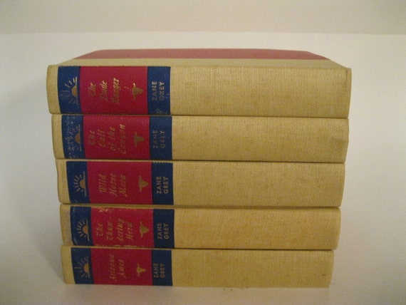 Western Vintage Collectible Set of Five Zane Grey Books Wild West Adventure Country Cowboy Horse Ranch Treasury Item