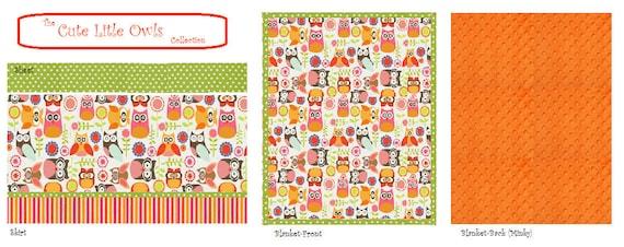 Bumperless Crib Bedding Sets-5 DIFFERENT OWL PRINTS