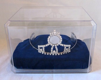 Tiara Crown with Combs Display Case with Velvet Cushion for Pageant or Princess