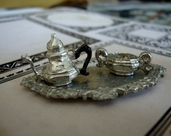 Vintage Pewter Victorian Style Tea Set with a Tray Dollhouse Miniature Teapot Sugar Doll Toy