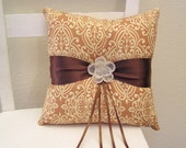 Tan and Cream Scrolls Ring Pillow