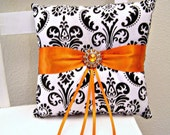 Orange Black and White Damask Ring Pillow
