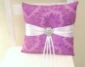 Orchid Purple Damask Ring Pillow