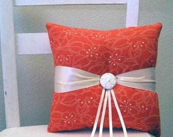 Orange Flowers Ring Pillow
