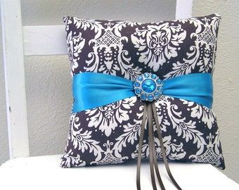 Brown and Teal Damask Ring Pillow