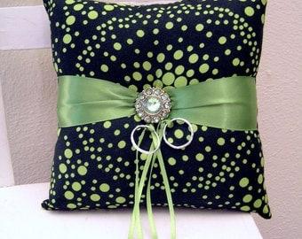 Green Dots Ring Pillow