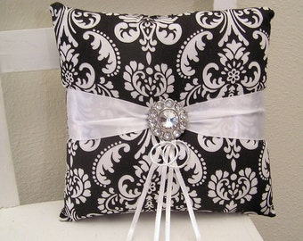 Black and White Damask Ring Pillow