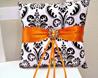 Orange Black and White Damask Ring Pillow