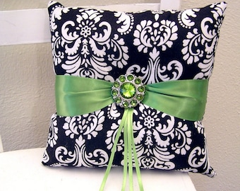 Green and Black Damask Ring Pillow