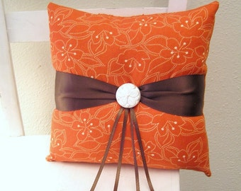 Orange and Brown Flowers Ring Pillow