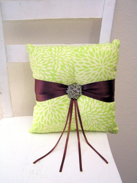NOVEMBER SALE Green Blooms and Brown Ring Pillow