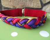 SOLD Vintage Elastic Multicolored Braided Belt