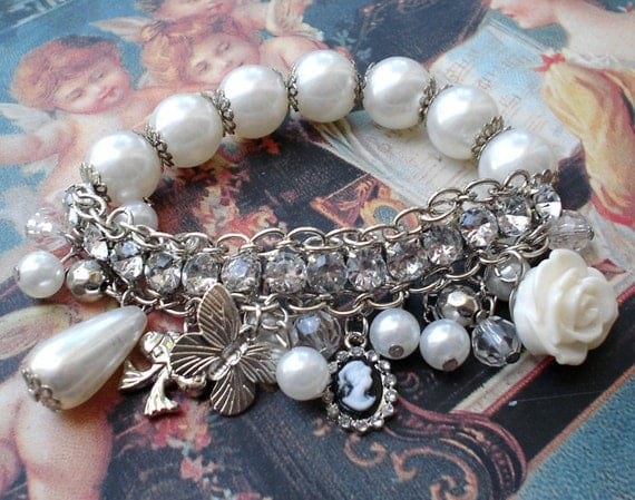 White beaded crystal charm bracelet