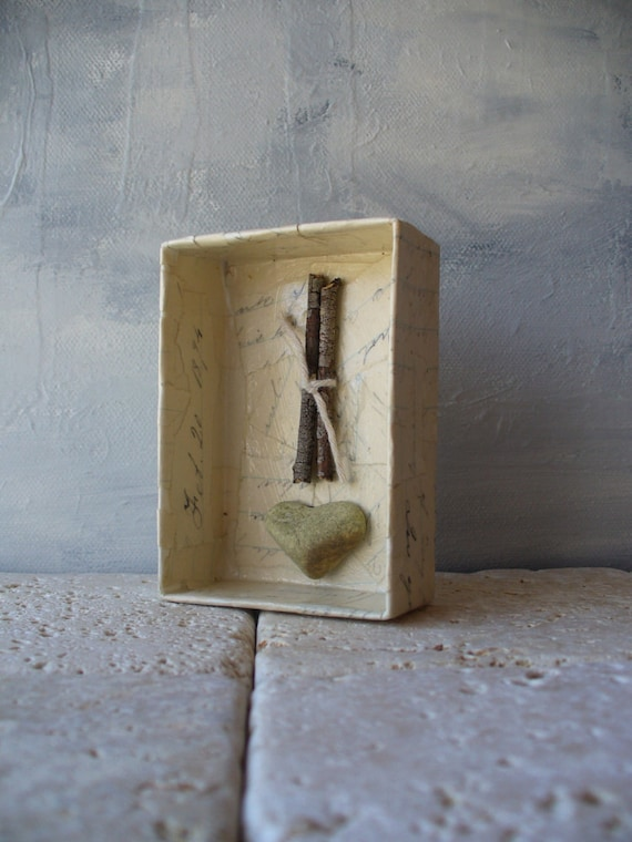 assemblage shadow box mixed media - sticks and stones