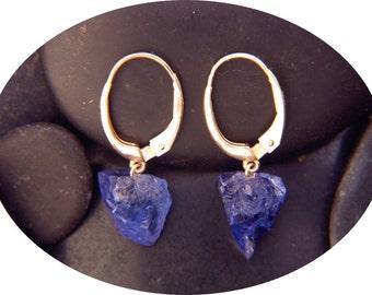Tanzanite Earrings -  Natural Crystal Drop 18 K Gold Leverback  Earrings