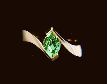 Tsavorite Mint Garnet Custom Cut 18K Yellow Gold Ring