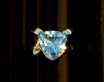 Aquamarine Custom Cut Trillion Ring in 14K White Gold Size 6.5