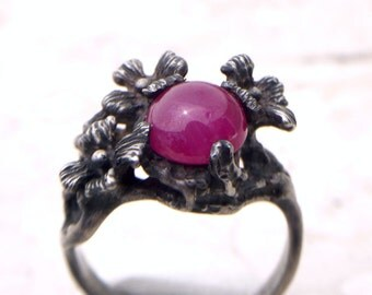 Natural Ruby Cab Hand Carved Flower Ring in Silver  Size 6.5