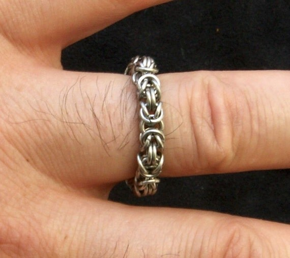 Men S Stainless Steel Byzantine Chainmaille Ring By Jimcolony