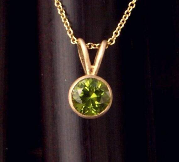 Peridot Round Bezel Set 14K Yellow Gold Pendant and Chain