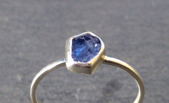 Benitoite Raw Rough Natural Crystal Recycled Silver Stack Ring - Rare Gemstone  -  Size 7
