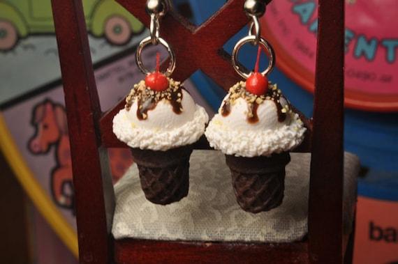 Scented Hot Fudge Sundae Cone Earrings
