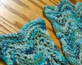 Hand Knit Alpaca Lace Skinny Scarf in Turquoise
