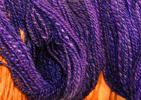 Superwash BFL Handspun Yarn in Dark Purple 180 yards