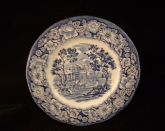 "Staffordshire Liberty Blue 6"" Plate Made in England."