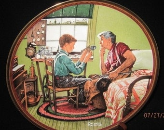 """Norman Rockwell  Collectible Plate """"The Inventor and the Judge  """""""