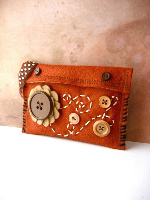 Burnt Orange Gypsy and Earthy Felt Handmade Wallet