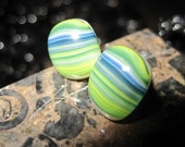 Green Blue Striped Earrings