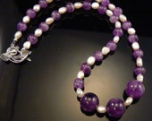 Amethyst beaded necklace with cultured pearls