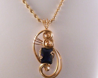 Pendant: Exquisite Blue Sapphire Pendant wrapped in 14kt Gold Filled Wire