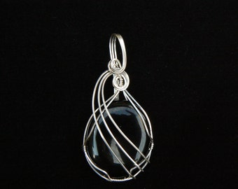 Pendant: Black agate wrapped in Sterling Silver wire