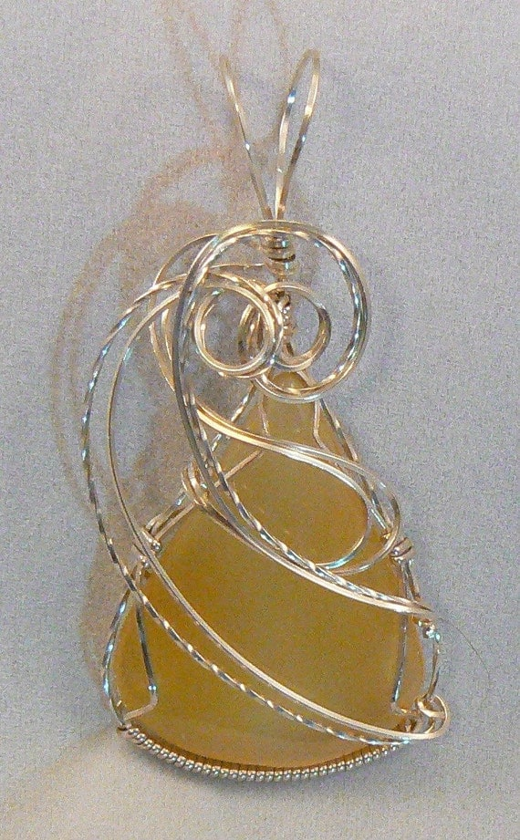 Pendant: Stunning yellow agate wire wrapped in Sterling Silver