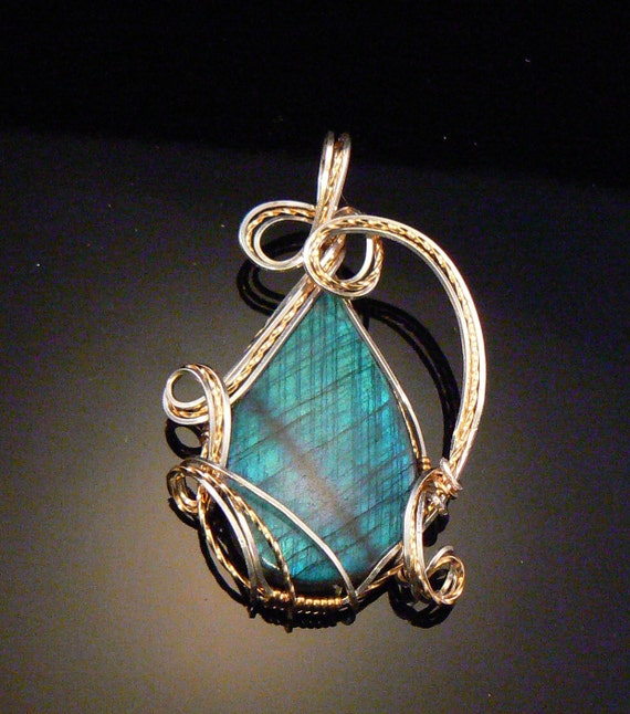 RESERVED FOR DOMINIQUE Labradorite gemstone wire wrapped in both gold filled and sterling silver wire