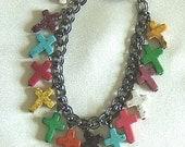 Cross Bracelet Multi-Colored Howlite on Gunmetal Chain w/Magnetic Closure