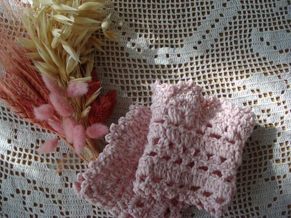 Crocheted romantic lace cuffs - crocheted wrist warmers - statement bracelet