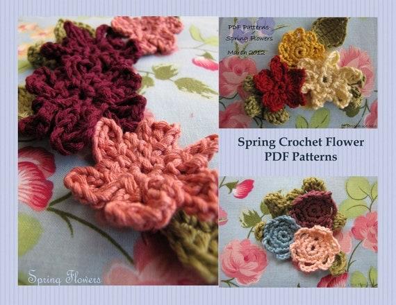2 PDF Patterns- Spring Crochet Flowers, crocheted flowers and leaves, flower brooch, flower applique