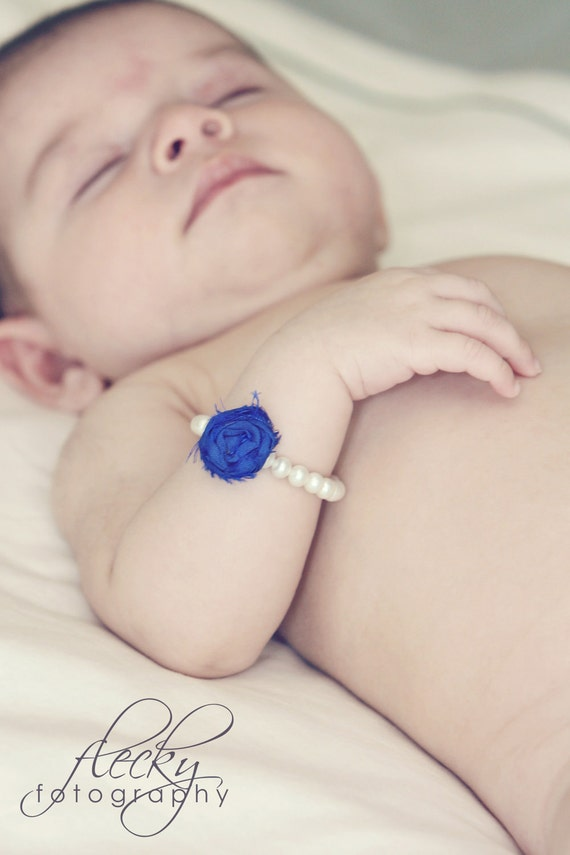 OOAK Baby's First Pearl Bracelet with Silk Rosette