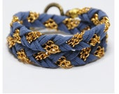 FUSION (GOLD) Denim Blue, braided, friendship bracelet