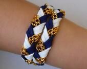 FUSION (GOLD) Blue&White nautical braided bracelet, friendship bracelet, leather bracelet, wrap around bracelet